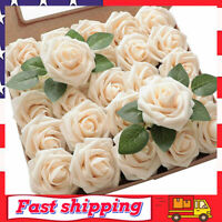25pcs Artificial Flowers Real Looking Blush Foam Fake Roses w/ Stems for Wedding