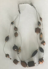 Multistranded Natural Brown And Shell-like Necklace Silver Accents 20""