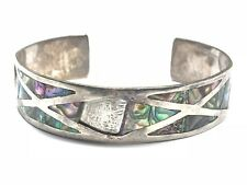 Vintage Ladies Sterling Silver Abalone Cuff Bracelet - Mexico - Take A Look!