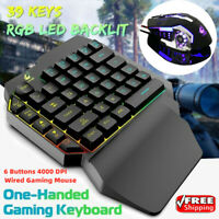 Wired One-Handed Gaming Keyboard Keypad 4000DPI Game Mouse Combo For PC Laptop