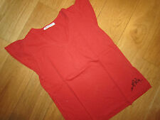 Adorable Tee-Shirt MC Col V Rouge Orange Feu & Paillette BELLEROSE - 12 ANS *TBE
