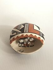 More details for native american aroma pottery a leno rare children in cave hand painted signed