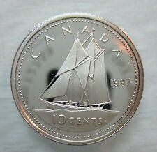 1997 CANADA 10 CENTS PROOF SILVER DIME COIN - S