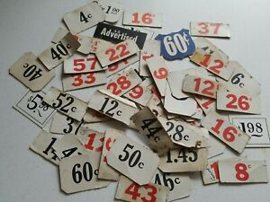 LOT of 50 Vintage 1930s price tags cardstock General store Mercantile Grocery