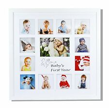 Baby Frames Collection, 16x16-inch My First Year Baby Photo Wood Frame, White