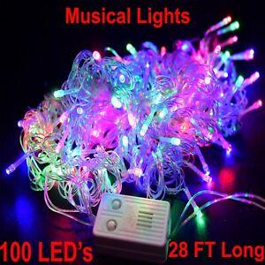 Musical Christmas Lights Twinkling Tree 100 LED Strip Music Luces de Navidad