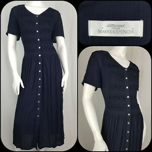 Vintage 90s St Michael Button Down/Through Dress Navy Blue Midi Length Size 14