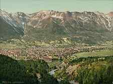 Tirol. Innsbruck gegen Norden mit dem Berge Isel. PZ vintage photochromie, photo