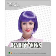 Perruques et toupets violets raides pour femme