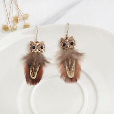 1Pair Women Earrings Owl Drop Feather Tribe Dangle Hook Ear Stud Gift