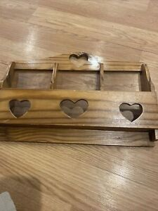 Vintage Wall Hanging Hearts  Decor Wood 3 Slots Mail Letter No Hooks