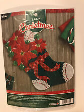 "Bucilla CHRISTMAS POINSETTIA Felt Applique 18"" Christmas Stocking Santa  - NIB"