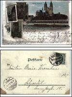 1899 Gruss aus MAGDEBURG Litho-AK Dom Kirche Schiff Elbe nach Salzwedel gelaufen