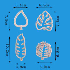 4 Pcs/set Simple Tropical Leaves Silicone Fondant Cake Embossed Mould DIY Tools