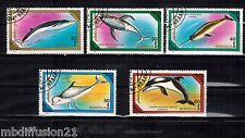 1981- 5 TIMBRES OBLIT.**// DAUPHIN//MARIN//POISSON//MONGOLIE