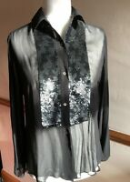 Nicole Farhi Size 12 Women's Black Sequin Front Shirt Sheer Party Occasion