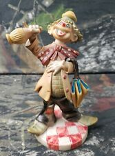Clown Figurine Made in Italy Plastic Umbrella Figurine B3H