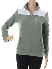 Victoria's Secret PINK Dog Pocket Zip Green Pullover Sweatshirt XS NWT