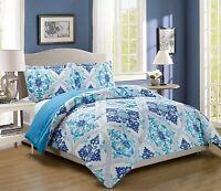 Turquoise Blue White Grey Navy Reversible Goose Down Alt King Comforter Set