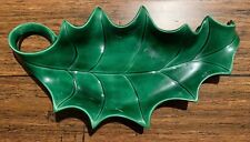 Holland Mold Homemade Handmade Ceramic Holly Leaf Christmas Cookie Plater Sign