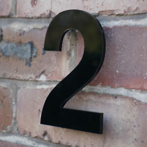 MODERN HOUSE NUMBER  FLOATING BLACK ACRYLIC, HIDDEN FIXINGS 4,6,8,10,12 INCH