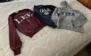Women's SZ Small College Sweatshirt Hoodie 3pc Lot Yale Lee TCTA Tennis NICE