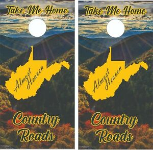 WV West Virginia Country Roads Cornhole Skin Wrap Decal Set w/  FREE Lamination