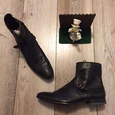 Paul Smith men's boots Black dip dyed side zip kasmin UK 10 US 11 Zip and Buckle