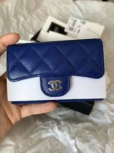 CHANEL Flap Card Holder Caviar Blue From 21K