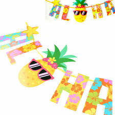 Hawaiian Tropical Paradise Pineapple Flag Paper Banner Birthday Party Decoration