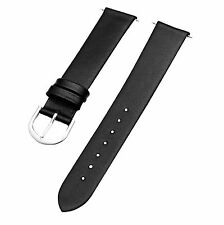 Timex Men's Q7B730 Calfskin 18mm Flat Black Dress | Sport Replacement Watchband