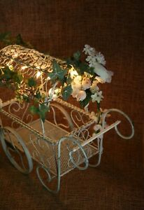 Shabby Chic Metal Wire Wedding Reception Card Box Holder Lighted Wagon Cart