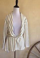 ZARA BASIC Collection Cream Blue Stripped Lined Smoking Jacket Belt Tie XS NWT!!