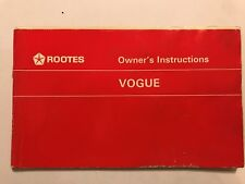 ROOTES MOTORS Ltd (SINGER) VOGUE OWNERS USERS INSTRUCTION HANDBOOK MANUAL 1959
