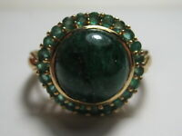 Gorgeous 14KT Solid Gold Genuine Cabochon Emerald Halo ring Very unique!
