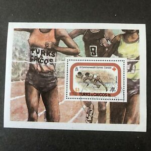 TURKS & CAICOS IS, SCOTT # 359, $1.00 VALUE S/S 1978 COMMONWEALTH GAMES USED