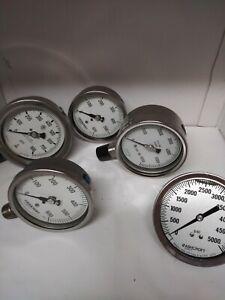 "Ashcroft, McDaniel, & Noshok  Industrial pressure gauge lot 3½"" - 4"" dial  ITL"