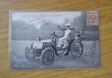 CARTOLINA RE REGINA IN AUTOMOBILE savoia VIAGGIATA 1904 SUBALPINA KK