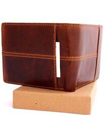 Men's Money Genuine oiled Leather wallet Billfold slim Pockets card coin zipper