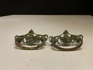 Antique Victorian Cast Metal Ornate Drawer Pull Lot of 2