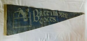 Early Vintage BALTIMORE COLTS  Pennant Flag -  Maryland Football