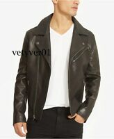 Kenneth Cole Reaction Men's Black The Iconic Leather Motorcycle/Moto/Bike Jacket