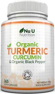 Organic Turmeric Curcumin 365 Capsules 600mg High Strength Organic Black Pepper