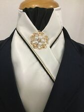 HHD White Satin Dressage Showjumping Pre-tied Show Stock Black & Gold Piping