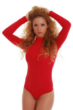 Womens Bodysuit Top Blouse Long Sleeve Leotard White thong Turtleneck Body Suit