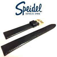 NEW 16mm SPEIDEL 757320 SEMI-GLOSS BLACK GATOR LIZARD GRAIN WATCH BAND STRAP