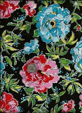 Med Peony Look Floral Print rose pink blue green on black Fabric