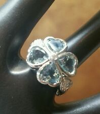 10k White Gold 4-Leaf Clover Aquamarine and Diamond Ring **PRICE CUT IN HALF!**