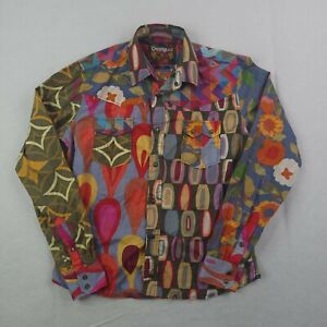 Desigual Snap Button Up Shirt Adult Large Men Colorful Abstract Geometric Party