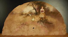 Curiosité projet d'éventail soie vers 1900 Fermière et ses oies project silk fan